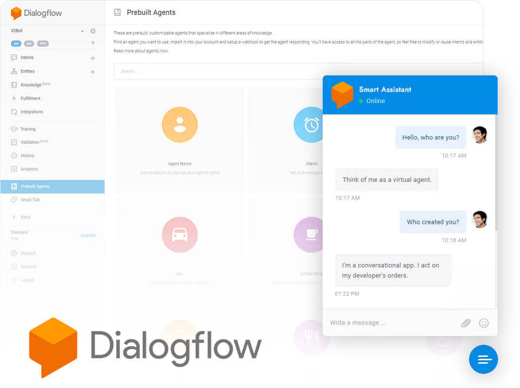 WordPress Chat powered by Dialogflow